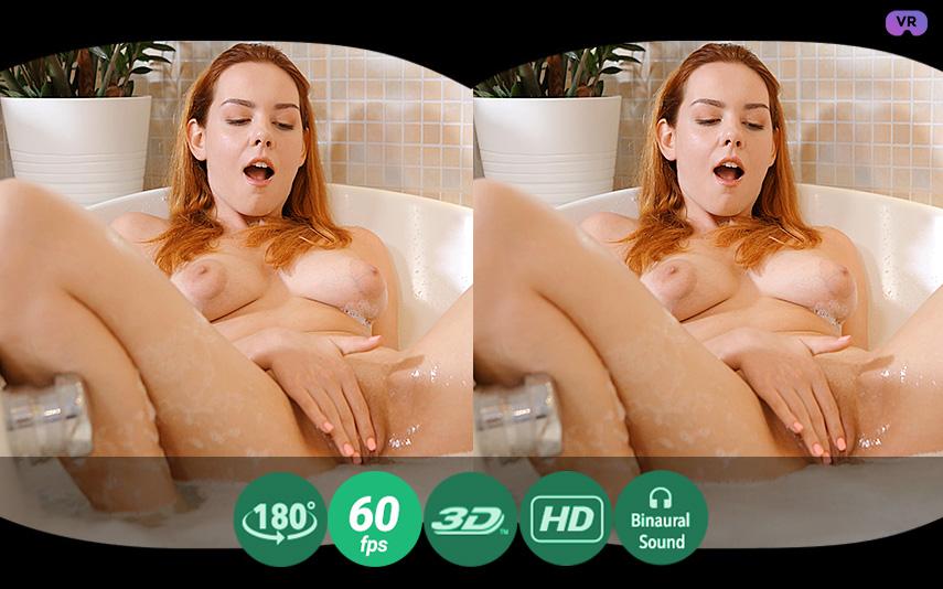 Soapy masturbation in a bath