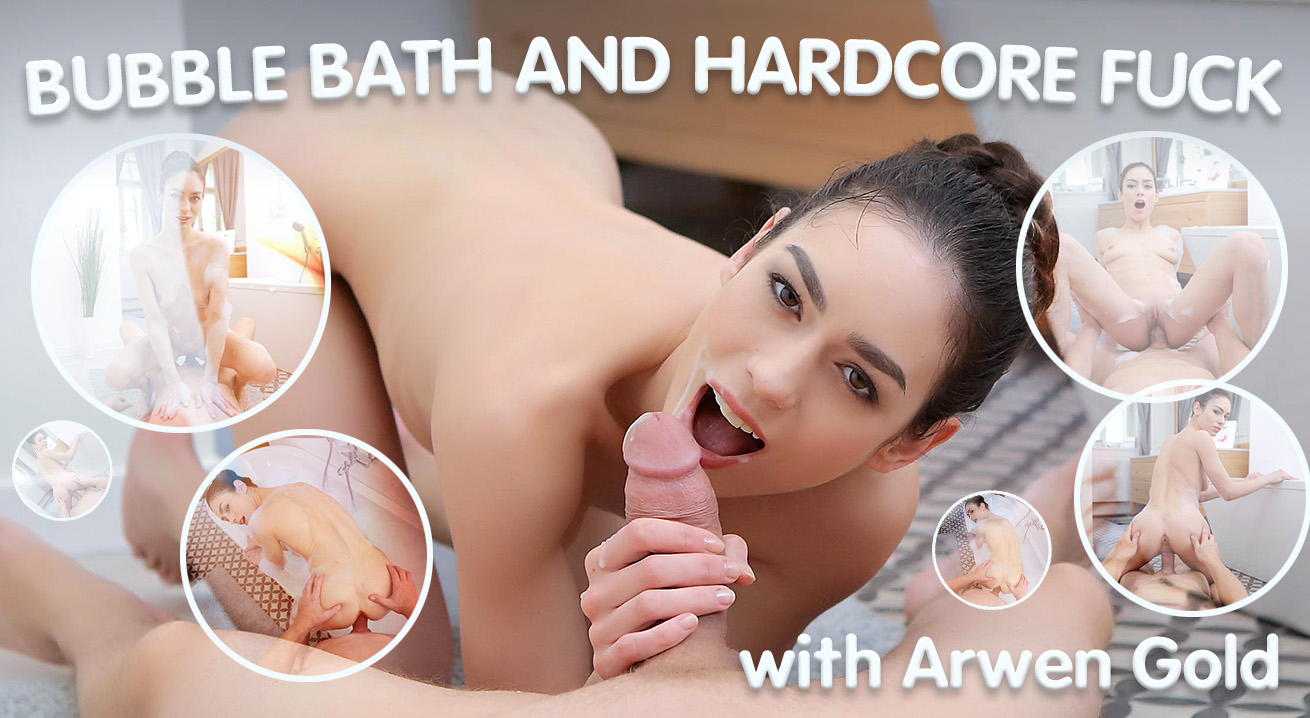 Wet Brunette Enjoys Bubble Bath and Hardcore Fuck