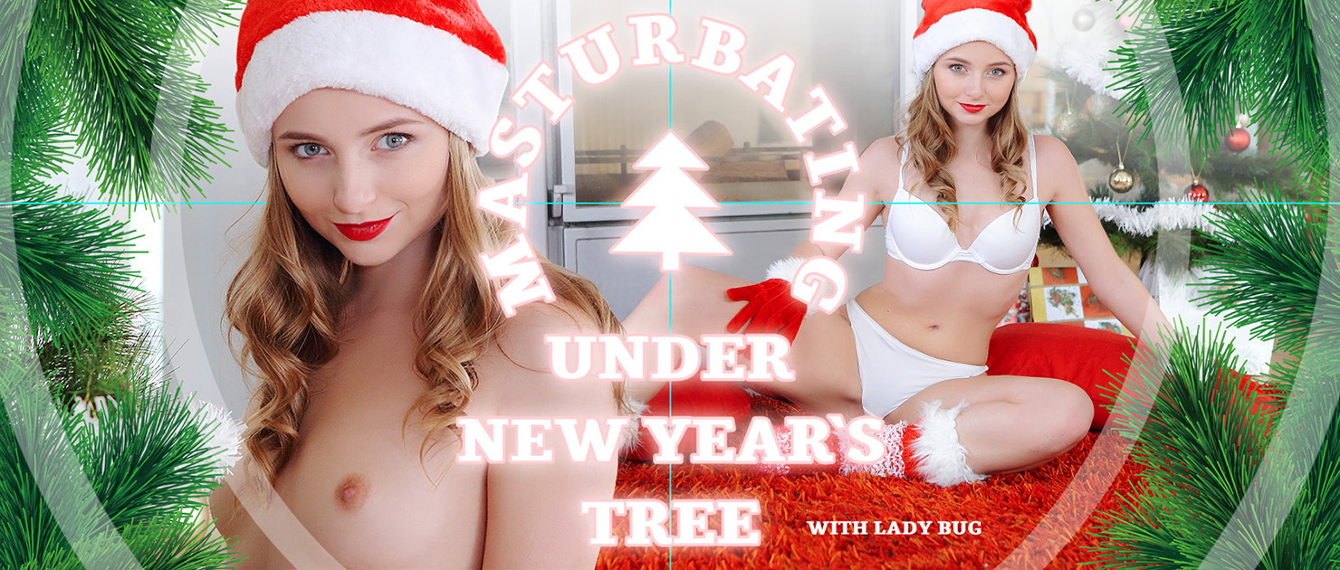 Masturbating under New Year's tree