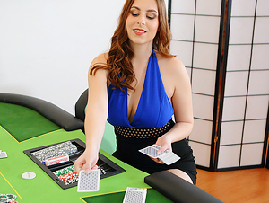 Busty Poker Dealer Shows All Her Tricks